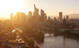 Frankfurt am Main financial district at sunset. Sunset view of the Frankfurt skyline at the main river. ideal for websites and magazines layouts Royalty Free Stock Image