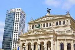 Old opera and new architecture in Frankfurt/Main, Germany. Frankfurt am Main, Germany – 19. April 2012 Stock Images