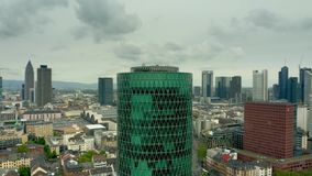 FRANKFURT AM MAIN, GERMANY - APRIL 29, 2019. Aerial shot of the European Insurance and Occupational Pensions Authority. FRANKFURT AM MAIN, GERMANY - APRIL 29 stock footage