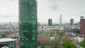 FRANKFURT AM MAIN, GERMANY - APRIL 29, 2019. Aerial view of the European Insurance and Occupational Pensions Authority. FRANKFURT AM MAIN, GERMANY - APRIL 29 stock video footage