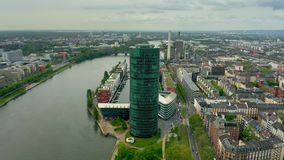 FRANKFURT AM MAIN, GERMANY - APRIL 29, 2019. Aerial view of the European Insurance and Occupational Pensions Authority. FRANKFURT AM MAIN, GERMANY - APRIL 29 stock video