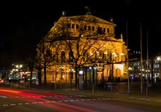 Alte Oper building at night in Frankfurt am Main royalty free stock photo
