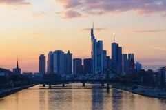 Frankfurt am Main, Germany at dusk Stock Photography