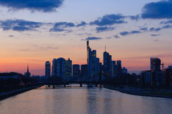Frankfurt am Main, Germany at dusk Stock Image