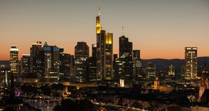 Frankfurt am Main, Germany financial district skyline at night. View of the business district in Frankfurt at sunset . ideal for websites and magazines layouts Stock Image