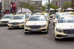 Frankfurt am Main, Germany. Hauptbahnhof, April 28, 2019, Taxi parking in Germany. Frankfurt taxis are predominantly Mercedes stock image