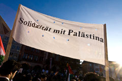 People in Frankfurt am Main demonstrate against the bombing of Gaza Stock Images