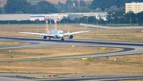 Air Canada Boeing 787 landing. FRANKFURT AM MAIN, GERMANY - JULY 19, 2017: Air Canada Boeing 787 Dreamliner braking after landing at 07L, slow motion. Fraport stock footage