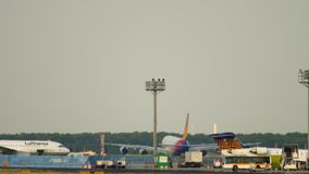 Asiana Airbus 380 take-off. FRANKFURT AM MAIN, GERMANY - JULY 18, 2017: Asiana Airlines Airbus 380 HL7641 accelerate and rotate at runway 25C. Fraport, Frankfurt stock footage