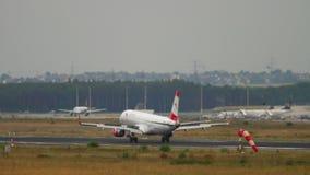 Austrian Airlines Embraer ERJ-195LR landing. Frankfurt Am Main, Germany - July 20, 2017: Austrian Airlines Embraer ERJ-195LR OE-LWQ landing. Fraport, Frankfurt stock footage