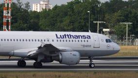 Lufthansa Airbus A319 taxiing. Frankfurt Am Main, Germany - July 18, 2017: Lufthansa Airbus A319 taxiing after landing at 07L. Fraport, Frankfurt, Germany stock footage