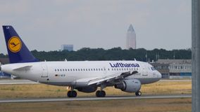Lufthansa Airbus A319 taxiing stock video footage