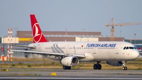 Airbus A321 taxiing. FRANKFURT AM MAIN, GERMANY - JULY 18, 2017: Turkish Airlines Airbus A321 taxiing to runway 18 before departure. Fraport stock video footage