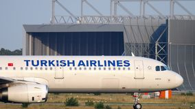 Airbus A321 taxiing. FRANKFURT AM MAIN, GERMANY - JULY 18, 2017: Turkish Airlines Airbus A321 taxiing to runway 18 before departure. Fraport stock footage