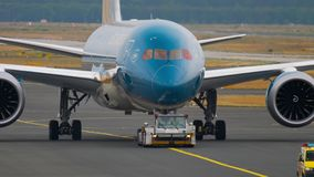 Boeing 787 towing from service stock footage
