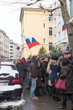 Waiting for the voting chance: Queue of the voters in front of the Russian consulate during the election of Russian president 2018. Frankfurt am Main, Germany Stock Photography