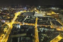 Frankfurt am main germany at night from above Stock Photos