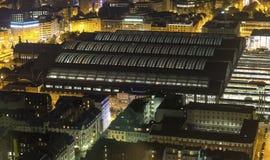 Frankfurt am main germany at night from above Royalty Free Stock Photography