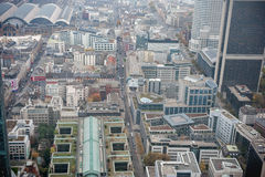 FRANKFURT AM MAIN, GERMANY - OCTOBER 25, 2012: Frankfurt am Main Business district from above. Royalty Free Stock Image