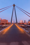 Frankfurt am Main. Germany - October 24, 2015: Holbeinsteg at night - pedestrian bridge over Main River leading to the financial district of Frankfurt Royalty Free Stock Image