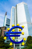 Euro Sign in front of the European Central Bank in Frankfurt, Germany Stock Photo