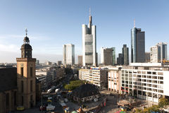 View to skyline of Frankfurt am Main with Hauptwache Stock Photos