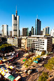 View to skyline of Frankfurt am Main with Hauptwache Stock Photography