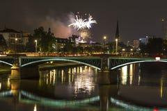 Frankfurt am main germany skyline at night Stock Image
