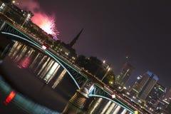 Frankfurt am main germany skyline at night Royalty Free Stock Images