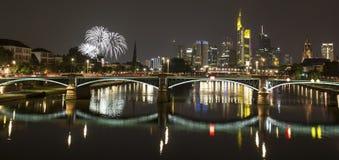 Frankfurt am main germany skyline at night Stock Photography