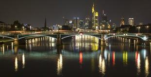 Frankfurt am main germany skyline at night Royalty Free Stock Photo