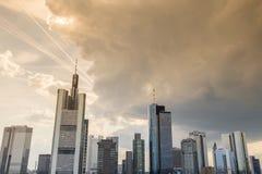Frankfurt am main germany skyline sundown cloudscape Royalty Free Stock Photos
