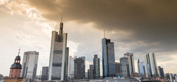 Frankfurt am main germany skyline sundown cloudscape Royalty Free Stock Image