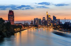 Frankfurt am Main- skyline at twilight stock photos