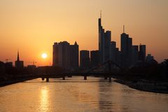 Frankfurt am Main, Germany - Sunset Stock Photos