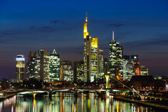 Frankfurt am Main, Germany in the twilight Stock Photo