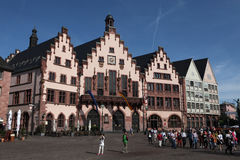 Frankfurt am Main, Hesse, Germany. FRANKFURT AM MAIN, GERMANY - JUNE 14, 2015: Tourists in front of the Frankfurt City Hall also known as the Romer at the Royalty Free Stock Photos