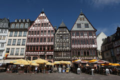 Frankfurt am Main, Hesse, Germany. FRANKFURT AM MAIN, GERMANY - JUNE 14, 2015: Tourists in front of the reconstructed half-timbered houses of the Ostzeile at Stock Photography