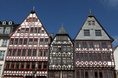 Frankfurt am Main, Hesse, Germany. Reconstructed half-timbered houses of the Ostzeile (Eastline) at the Romerberg in Frankfurt am Main, Hesse, Germany Stock Photo