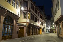 Frankfurt am Main. Historical city centre. New old town at night stock images