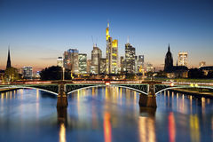 Frankfurt am Main. Image of Frankfurt skyline during sunset blue hour stock image
