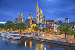 Frankfurt am Main. Image of Frankfurt am Main skyline during twilight blue hour stock images