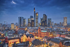 Frankfurt am Main. Image of Frankfurt am Main during twilight blue hour stock image