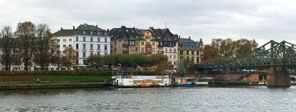 Frankfurt Main river houses stock images