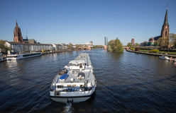 Frankfurt am main river view with big ship. The frankfurt am main river view with big ship Royalty Free Stock Photos