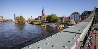 Frankfurt am main river view with eiserner steg Royalty Free Stock Image