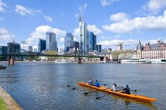 Frankfurt am Main - rowing boat on the river Royalty Free Stock Photography