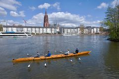 Frankfurt am Main - rowing boat on the river Stock Images