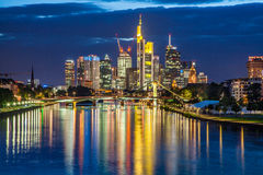 Frankfurt am Main skyline at dusk, Germany Stock Images