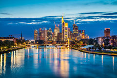 Frankfurt am Main skyline at dusk, Germany Royalty Free Stock Photos